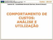 Capitulo 05 - Comportamento dos Custos - Analise e Utilizacao