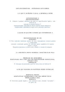 LISTA DE EXERCÍCIOS IMUNOLOGIA