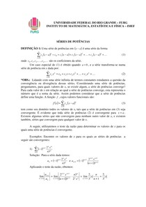 Cálculo III Séries de potências