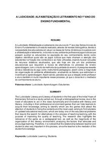 A LUDICIDADE ALFABETIZAÇÃO E LETRAMENTO NO 1º ANO DO ENSINO FUNDAMENTAL