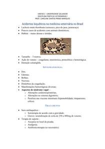 Acidentes laqueticos na medicina veterinaria