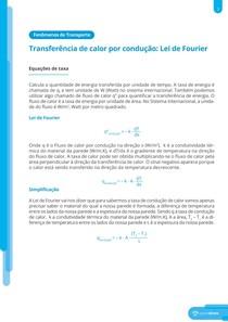 Transferência de calor por condução: Lei de Fourier - Resumo