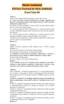 Direito Ambiental - Política Nacional do Meio Ambiente - Exercícios 04