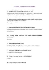 QUESTÕES I - Anatomia Humana Topográfica