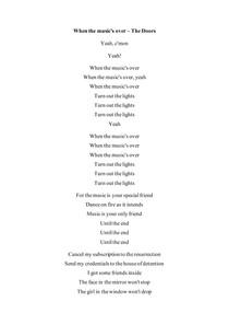 When the music's over - the doors (tradução)