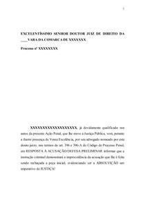Defesa Previa Generica Modelo Manoel Direito Processual Pena