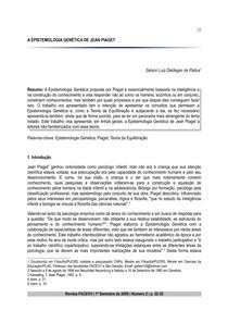 A EPISTEMOLOGIA GENETICA DE JEAN PIAGET - gelson luiz de padua