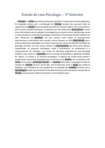Estudo de caso Psicologia - 1º bimestre
