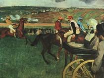 Edgar Degas - The Race Course  Amateur Jockeys near a Carriage