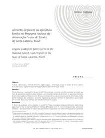 Alimentos orgânicos da agricultura familiar no Programa Nacional de alimentação Escolar do Estado de Santa Catarina, Brasil