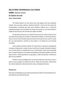 RELATÓRIO DIFERENÇAS CULTURAIS