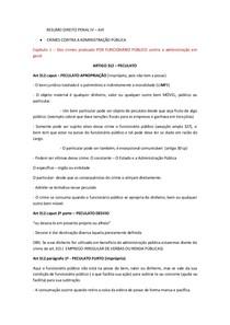 RESUMO DIREITO PENAL IV - CRIMES CONTRA A ADMINISTRAÇÃO PÚBLICA - ART 312 AO ART 331 DO CP