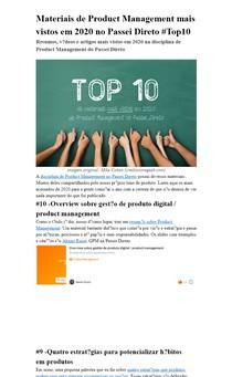 Materiais de Product Management mais vistos em 2020 no Passei Direto #Top10