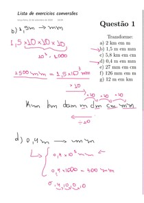 [NOTA DE AULA] Lista de exercicios de: Unidades de comprimento, área e volume (com algumas soluções)