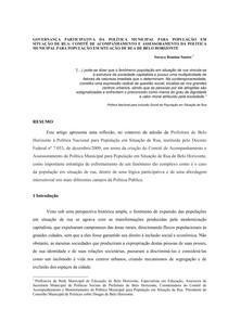 Governan+ºa participativa da pol+¡tica municipal para popula+º+úo em situa+º+úo de rua comit+¬ de belo horizonte