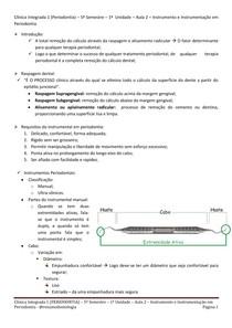 RESUMO (Periodontia) Instrumento e Instrumentação em Periodontia