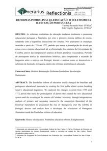 REFORMAS POMBALINAS DA EDUCAÇÃO: O ECLETISMO DA ILUSTRAÇÃO PORTUGUESA