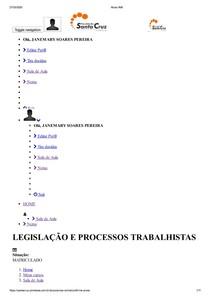 Aluno AVA prova online legislaçao e processos trabalhistas