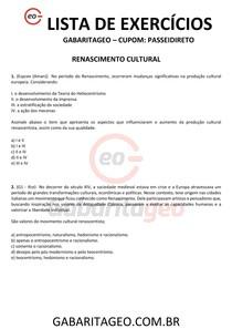 EXERCÍCIOS RESOLVIDOS RENASCIMENTO CULTURAL - 01