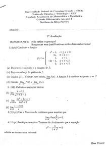 Prova de Cálculo I - 1° estágio (2016.1)