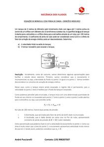 EQUAÇÃO DE BERNOULLI COM PERDA DE CARGA - EXERCÍCIO RESOLVIDO