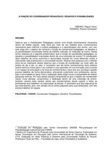 A FUNÇÃO DO COORDENADOR PEDAGÓGICO-ARTIGO