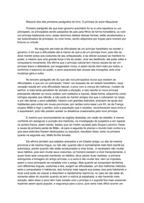 Resumo dos três primeiros parágrafos do livro: O príncipe do autor Maquiavel