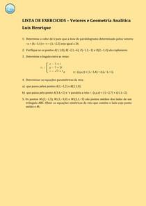 Lista de Vetores e geometria Analítica
