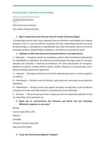 Lista de exercícios - Introdução à farmacologia