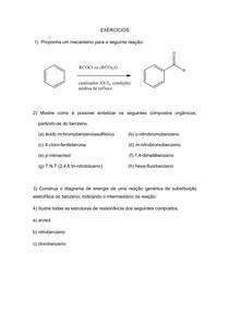 Exercícios Substituição eletrofílica aromatica