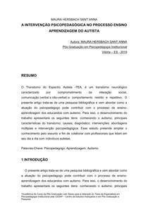 Artigo - A Intervenção Psicopedagógica no Processo Ensino Aprendizagem do Autista-convertido