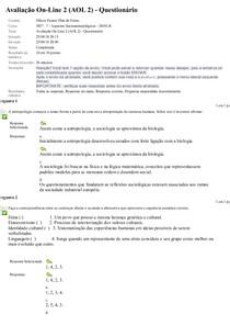 Aspectos Socioantropológicos  Avaliação On Line 2 (AOL 2)   Questionário