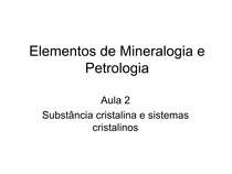 Mineralogia - aula 2