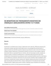 OS BENEFÍCIOS DO TREINAMENTO RESISTIDO EM CRIANÇAS E ADOLESCENTES ENTRE 7 A 17 ANOS _ Anais do EVINCI - UniBrasil