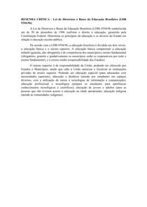 RESENHA CRÍTICA - Lei de Diretrizes e Bases da Educação Brasileira
