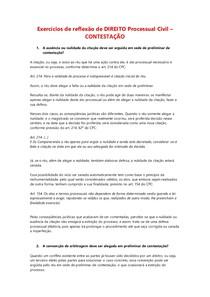 Exercícios de reflexão de DIREITO Processual Civil