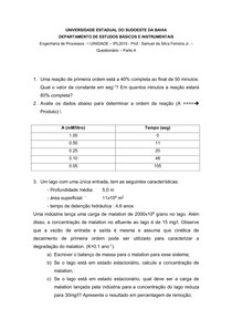 Lista de Exercícios - Cinética das Reações - Eng. Processos