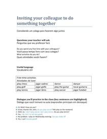 Inglês - Convidando um colega para fazerem algo juntos