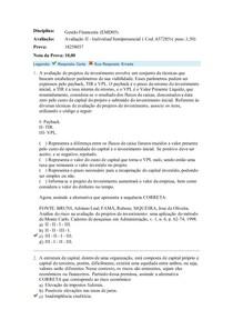 Gestão Financeira (EMD05) Avaliação II
