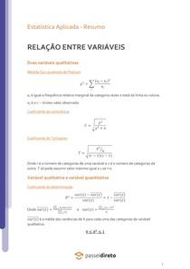 Relação entre variáveis qualitativas ou entre variáveis qualitativa e quantitativa - Resumo