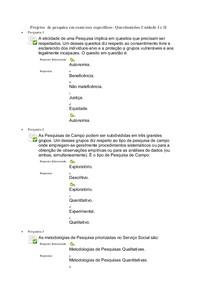 Questionários Unidade I e II  Projeto de pesquisa em contextos específicos