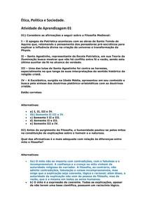 Atividade de Aprendizagem 01 Ética, Política e Sociedade.