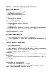 DISTÚRBIOS CAUSADORES DE DOENÇA VESTIBULAR CENTRAL