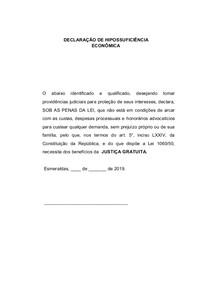 DECLARAÇÃO DE HIPOSSUFICIÊNCIA ECONÔMICA EM BRANCO