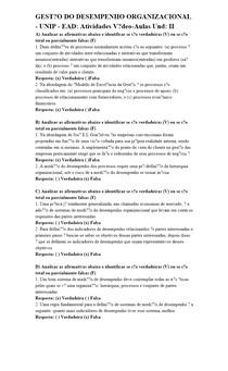 GESTÃO DO DESEMPENHO ORGANIZACIONAL - UNIP - EAD: Atividades Vídeo-Aulas Und: II