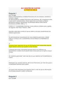 AV 2 GESTÃO DE CUSTOS