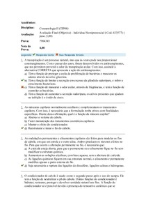 COSMETOLOGIA II PROVA FINAL OBJETIVAS