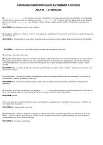 ABORDAGEM SOCIOPSICOLÓGICAS DA VIOLÊNCIA E DO CRIME AULA 04