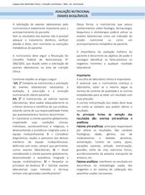 AVALIÇÃO NUTRICIONAL - EXAMES BIOQUIMICOS