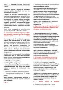 APOL 1 e 2- POLÍTICAS SOCIAIS - SEGURANÇA PÚBLICA